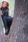 Woman posing on tree trunk Stock Photo