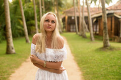 Woman posing in the tropical forest Royalty Free Stock Image