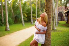 Woman posing in the tropical forest Stock Photos