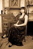 Woman posing in vintage flat Royalty Free Stock Photos