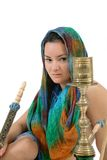 Woman posing with water pipe Stock Photography