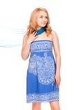 Woman posing wearing blue dress Royalty Free Stock Images