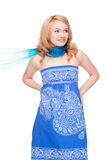 Woman posing wearing blue dress Stock Image