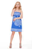 Woman posing wearing blue dress Royalty Free Stock Images