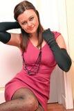 Woman posing wearing pink dress Royalty Free Stock Images