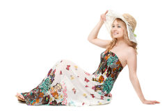 Woman posing wearing sundress Royalty Free Stock Image