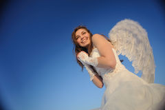 Woman posing in wedding dress Royalty Free Stock Photos