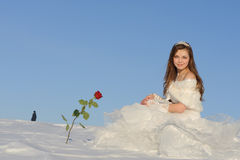 Woman posing in wedding dress Royalty Free Stock Photography