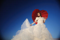 Woman posing in wedding dress Stock Images