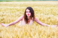 Woman posing in wheat field Royalty Free Stock Images