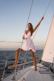 Woman posing on yacht Royalty Free Stock Photos