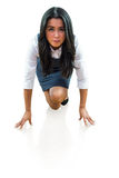 Woman in position to run Royalty Free Stock Photos