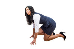 Woman in position to run Stock Photography