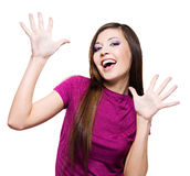 Woman with positive facial expression Royalty Free Stock Image