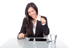 Woman with positive gesture Royalty Free Stock Photography
