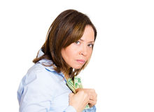 Woman possessive about her money Royalty Free Stock Images