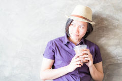 Woman post in coffee shop Royalty Free Stock Photo