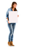Woman with a poster Stock Photography