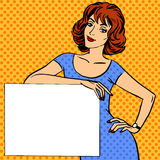 Woman with poster place for text Pop art vintage comic Royalty Free Stock Image