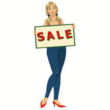 Woman with a poster sale royalty free illustration