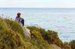 Woman on Potistika beach. Morning view (Greece) Stock Photos