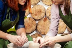 Woman potter working stock photography