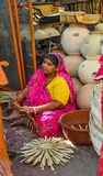 A woman at pottery shop in Jodhpur, India royalty free stock photos