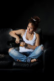 Woman pouring a alcohol drink Stock Images