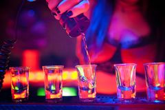 Woman Bartender Pouring shots of alcohol Stock Images