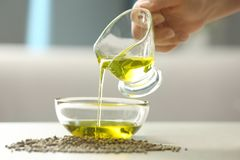 Woman pouring hemp oil in glass bowl stock photo