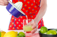 Woman pouring lemon juice in a glass Stock Photography