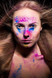 Woman with powder fashion make up on face Royalty Free Stock Photography