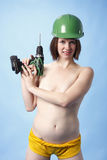 Woman with power drill Stock Image