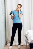 Woman with a power drill Royalty Free Stock Image