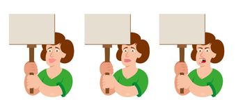 Woman power. Set flat cartoon characters white women feminism power with different emotion which keep a sign without slogan take part in protest for freedom Royalty Free Stock Images