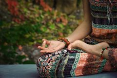 woman practice yoga meditation hands in mudra gesture closeup outdoor autumn day royalty free stock photos