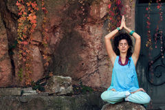 Woman practice yoga outdoor Stock Images