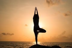 The woman practices yoga at dawn, there is an asana on a stone, dawn and an image of the girl, to enjoy dawn, to be happy with lif Stock Photos