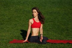 Woman practices yoga on a green grass. Woman practices yoga in nature Stock Image