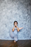 Woman practicing advanced yoga in the living room at home. A series of yoga poses.  stock image