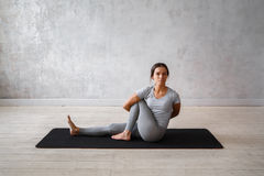Woman practicing advanced yoga. A series of yoga poses.  Stock Photography