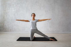 Woman practicing advanced yoga. A series of yoga poses.  stock image