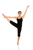 Woman practicing ballet dance. Young woman practicing ballet dance on white background Royalty Free Stock Photos