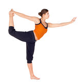 Woman Practicing Dancer Pose Yoga Exercise royalty free stock photography