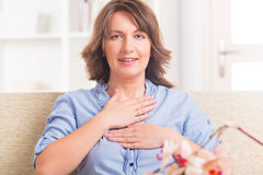 Woman practicing energy medicine Stock Photos