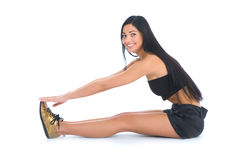 Woman practicing fitness royalty free stock photography