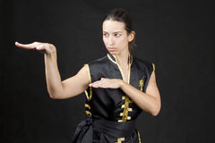 Woman practicing martial arts Royalty Free Stock Photos