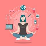 Woman practicing mindfulness meditation Stock Photos