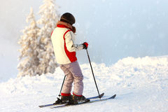 Woman practicing ski Royalty Free Stock Images