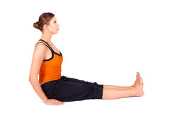 Woman Practicing Staff Pose Yoga Asana Stock Photo